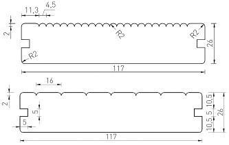 Thermo borovice - jemné drážkování / hladký povrch - 26 x 118 mm (3000 - 4200 mm)